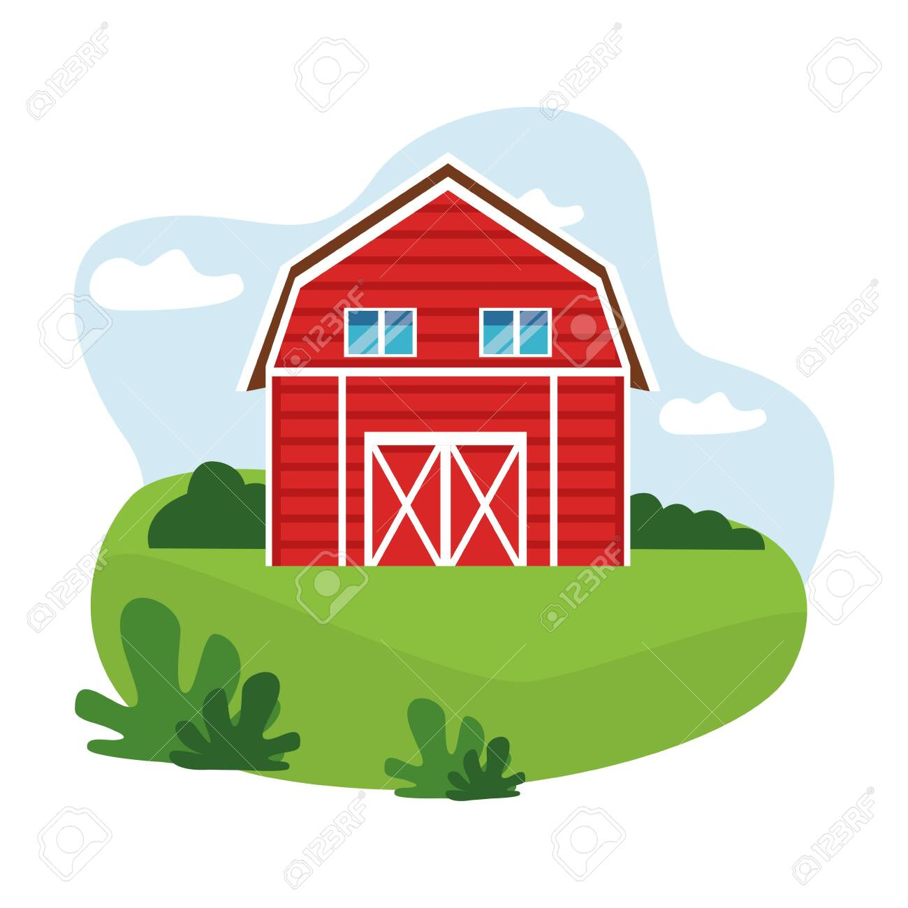 Farm Animals And Farmer Barn Icon Cartoon Over The Grass With