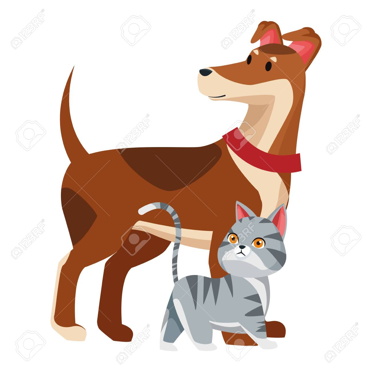 Domestic Animals And Pet With Dog And Cat Icon Cartoon Vector