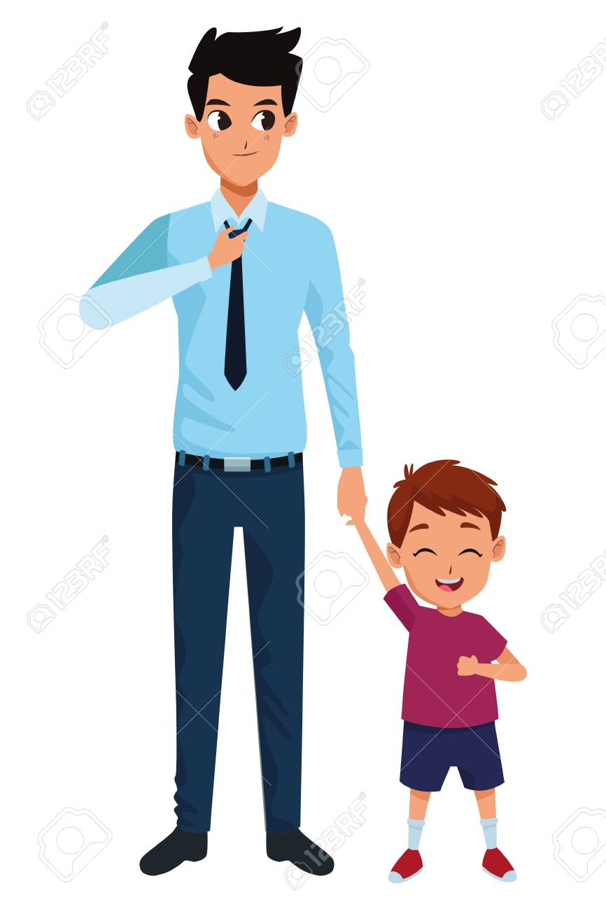 Family single father and little son smiling cartoon vector illustration graphic design - 130181959