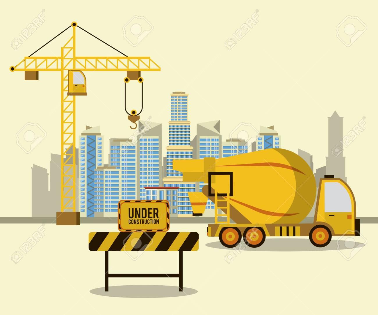 Cement truck in construction zone scenery vector illustration graphic design - 130769373