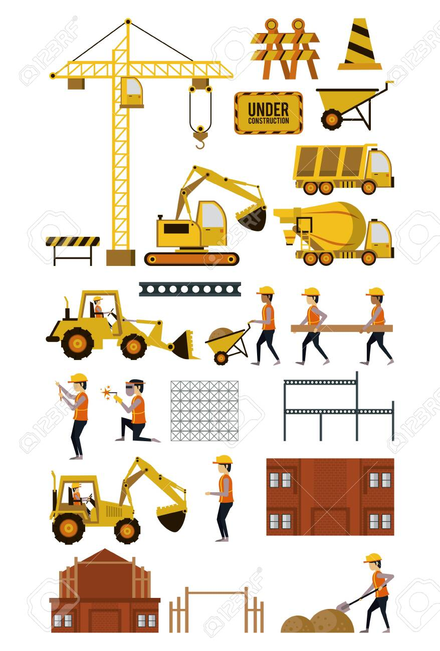 Set of under construction icons, workers and machinery, buildings and hard work. vector illustration graphic design - 130682141