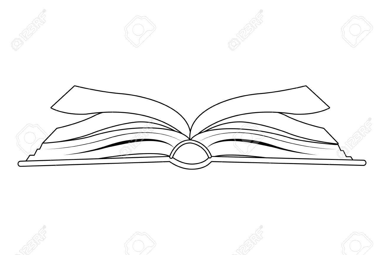 open book side view icon cartoon isolated in black and white vector illustration graphic design - 131402144