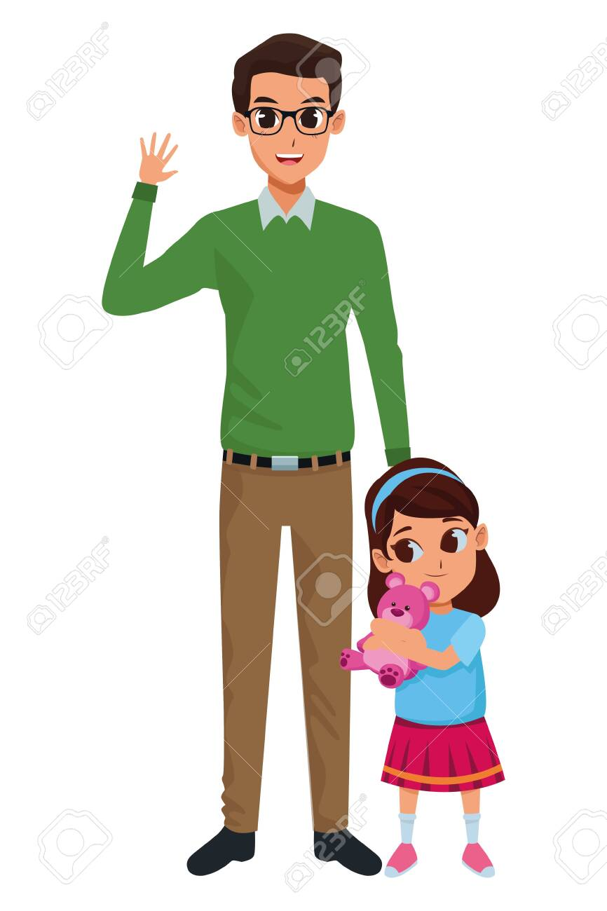 Family single father with little daughter cartoon - 133108590