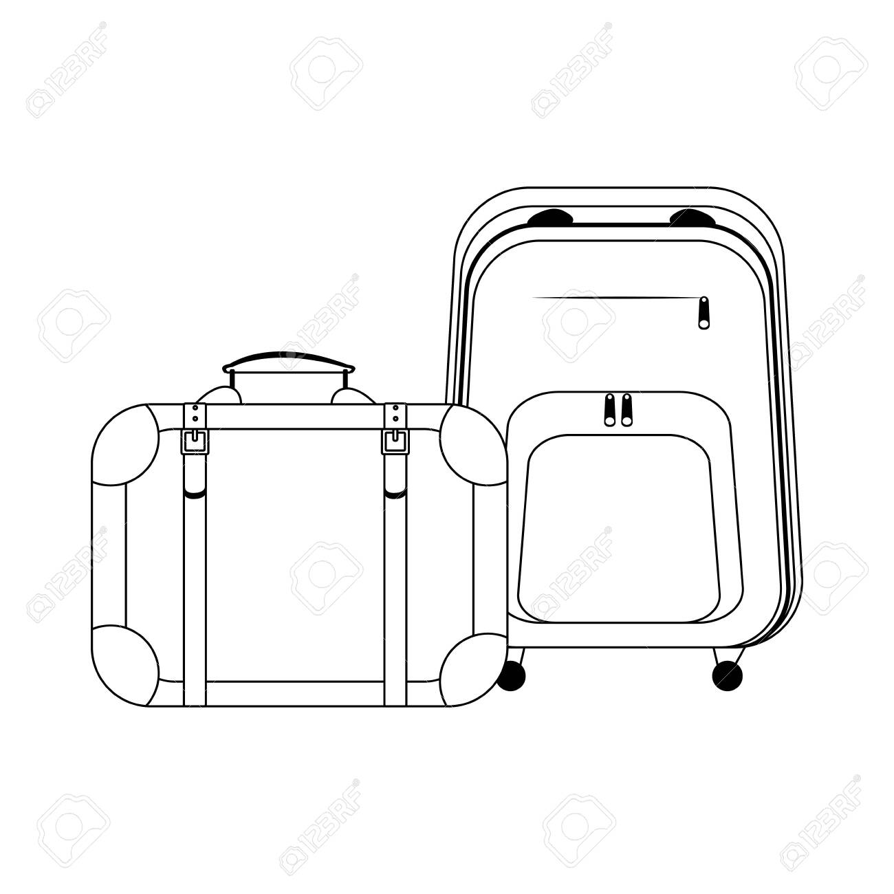 travel suitcase and backpack icon over white background, vector illustration - 133622180