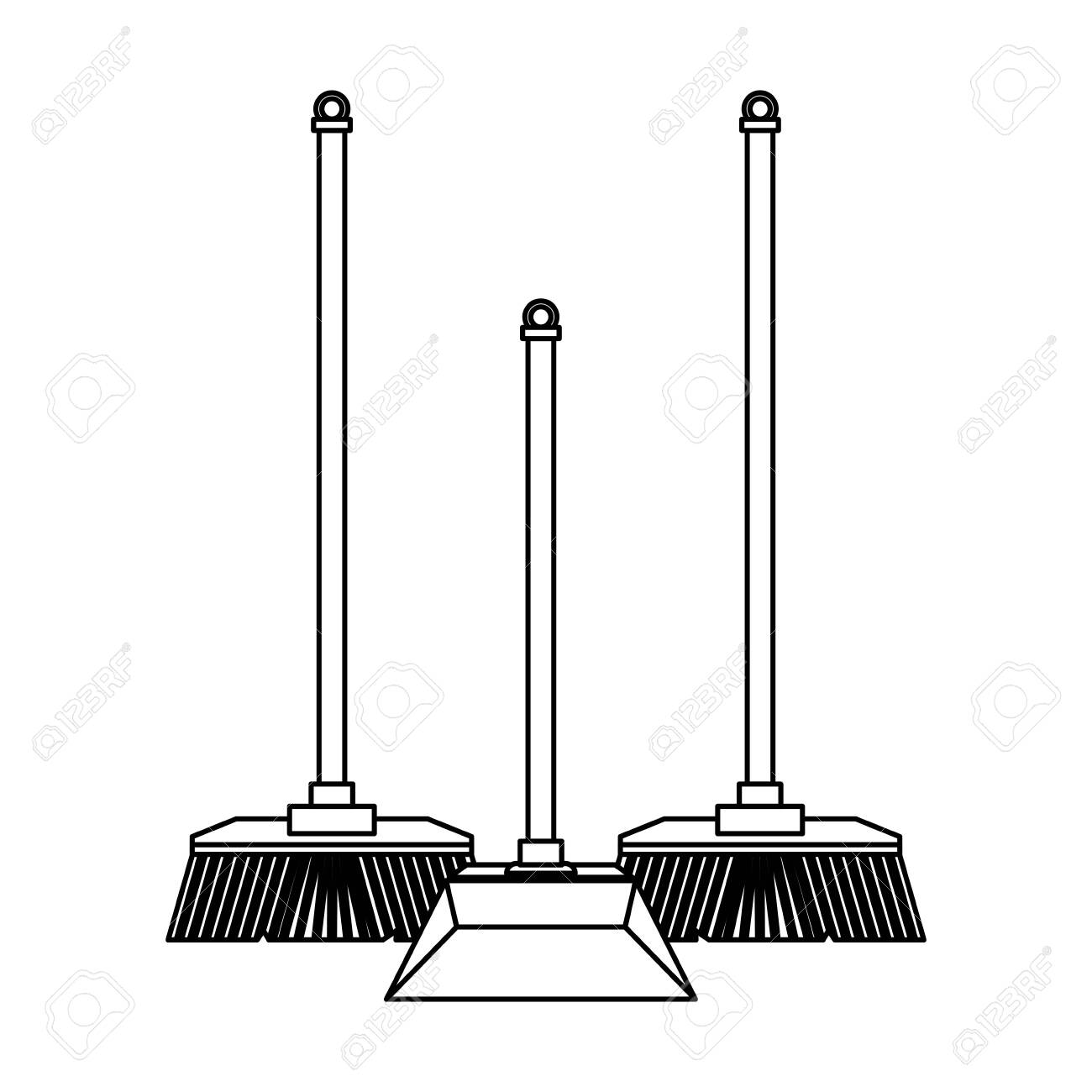Cleaning equipment and products brooms and dustpan vector illustration graphic design. - 133856238
