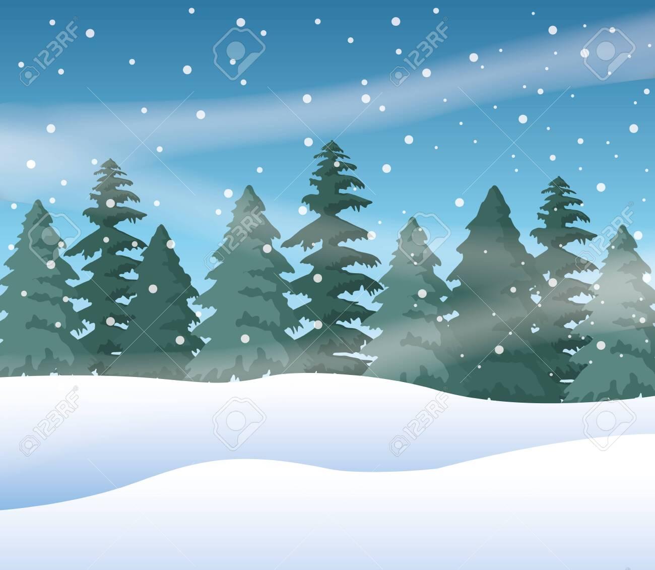 forest snowscape scene nature icon vector illustration design - 134097529
