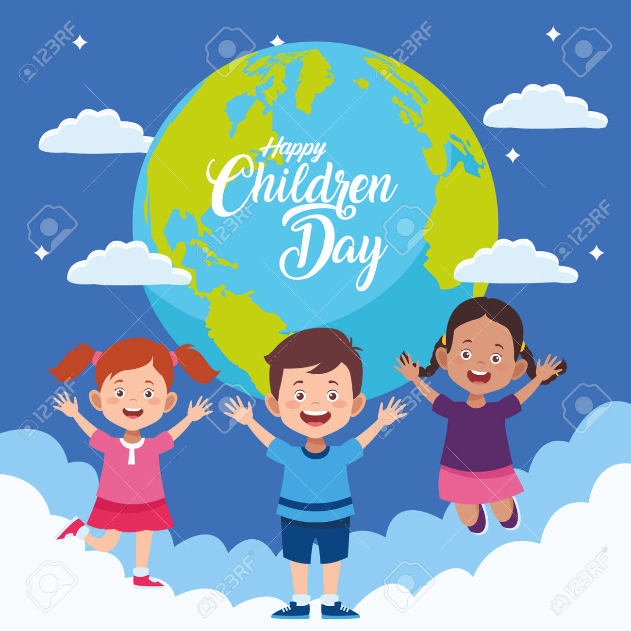 happy children day with kids in the world planet vector illustration design - 134489411