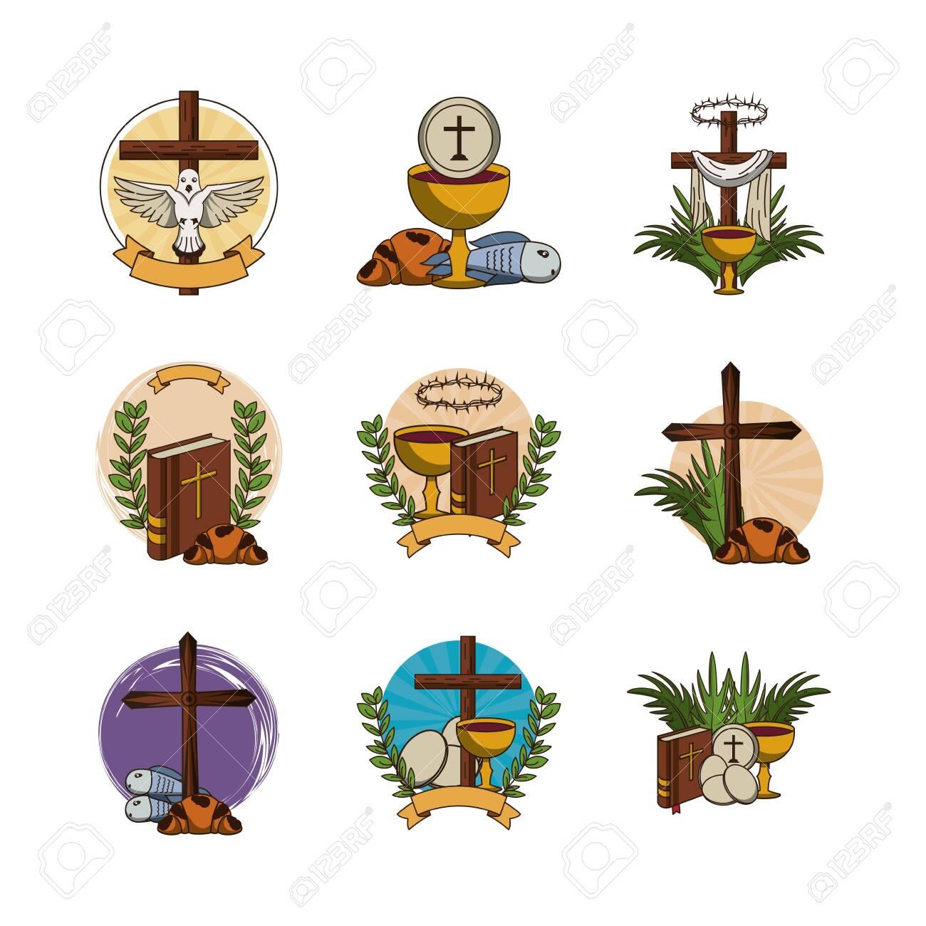 bundle of first communion set icons vector illustration design - 134492215