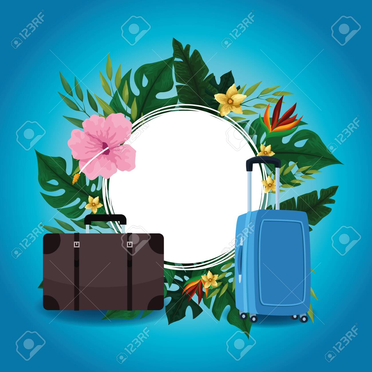 Summer blank round frame with travel cartoons and tropical flowers vector illustration graphic design - 134493232
