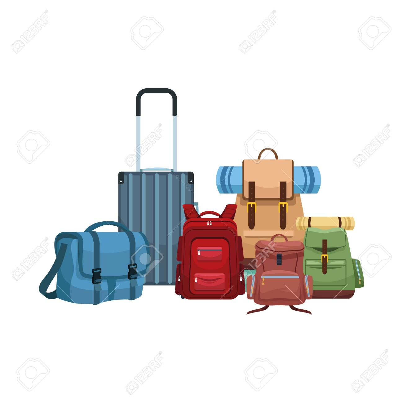 travel suitcase with bags and backpacks icon over white background, vector illustration - 134652678