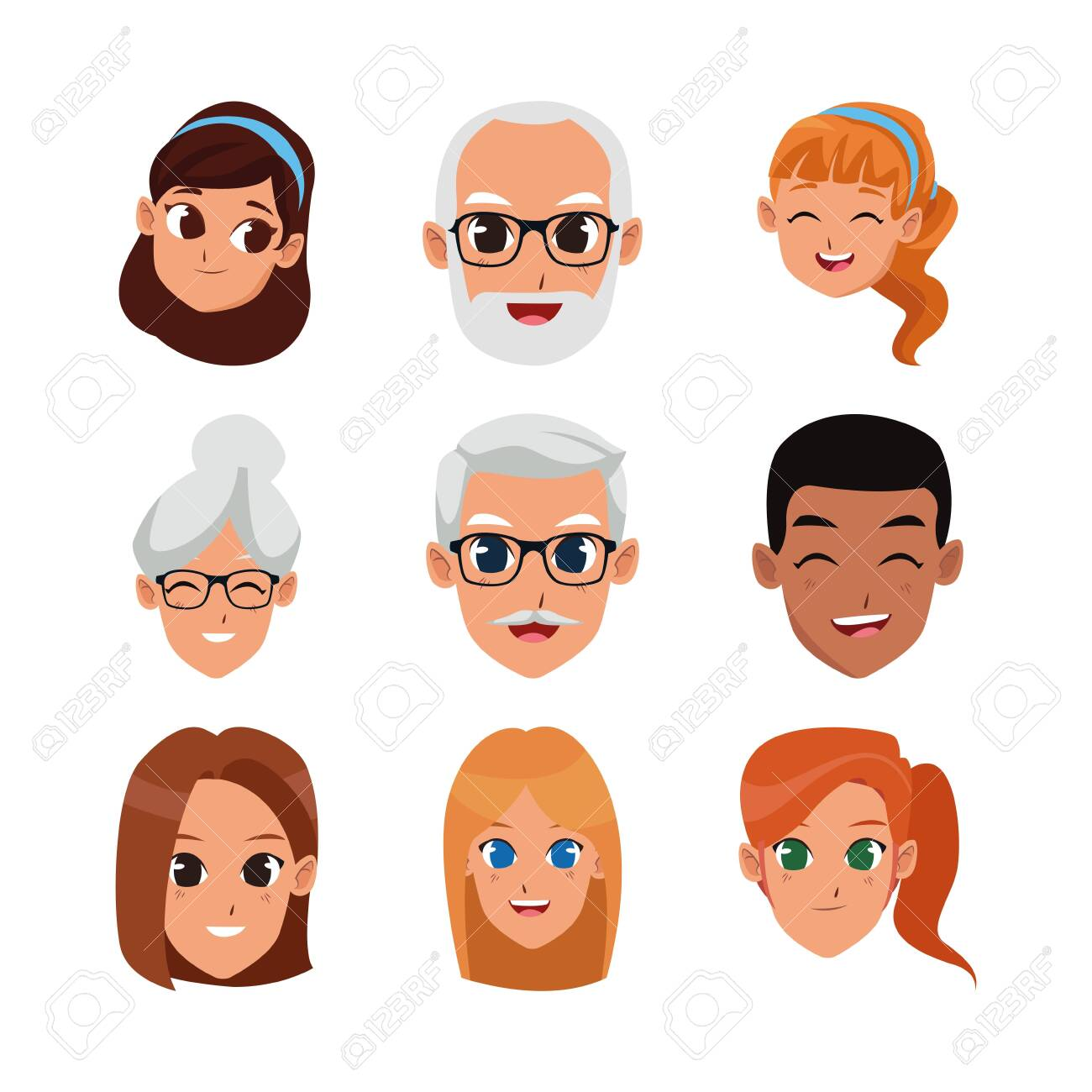 icon set of cartoon people faces over white background, vector illustration - 134709975