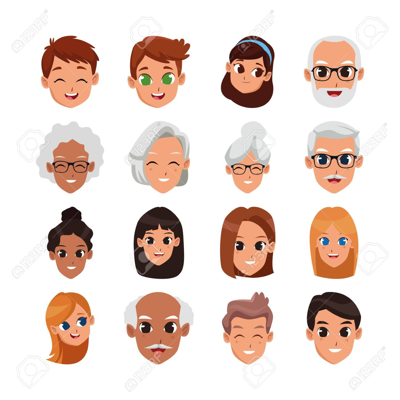cartoon people happy faces icon set over white background, vector illustration - 134710745