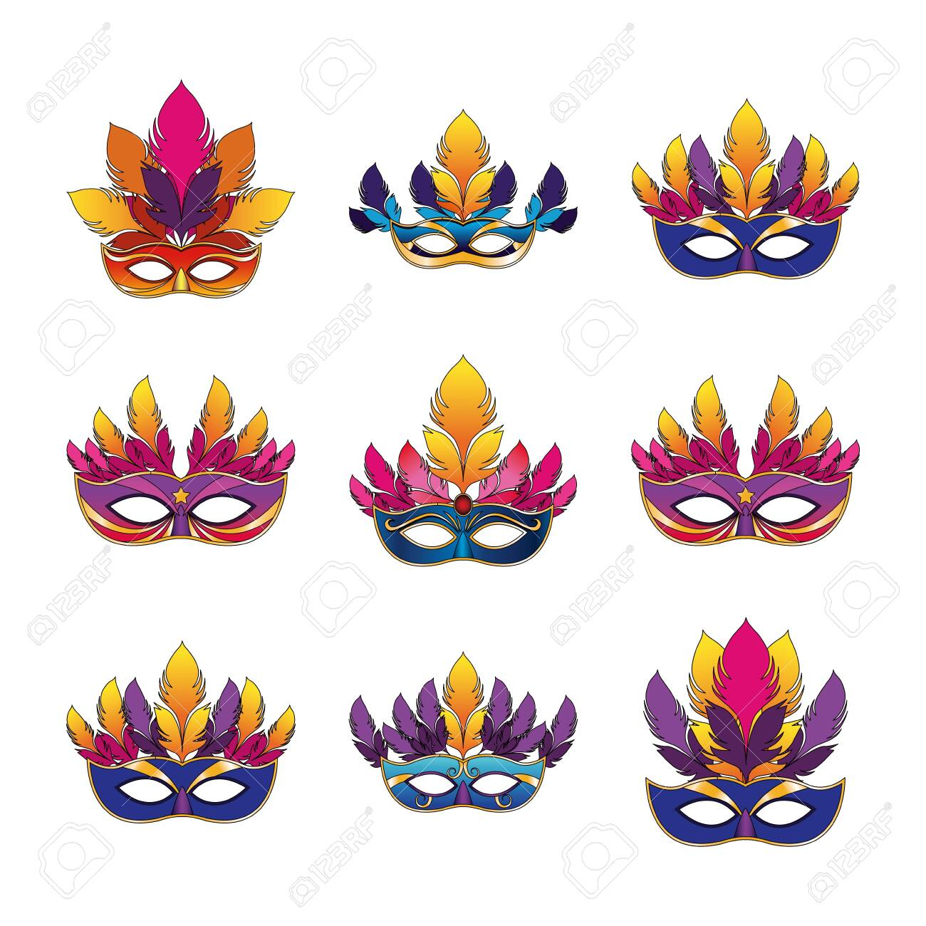 icon set of carnival masks with feathers over white background, vector illustration - 134896378