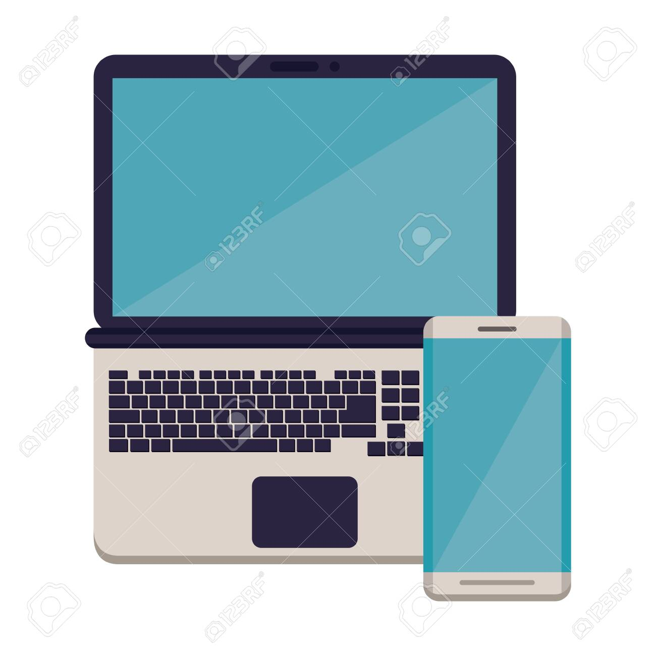 smartphone with laptop electronic devices vector illustration design - 135586435