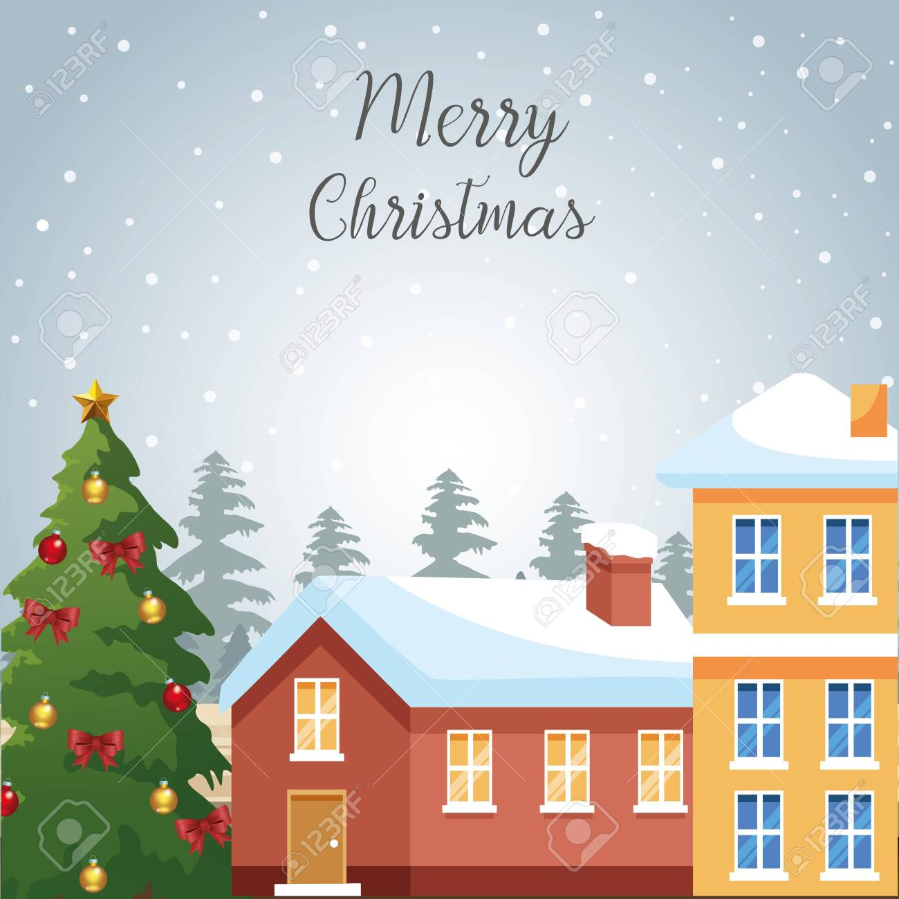 Merry christmas design with houses and christmas tree with ornaments over snowy background, colorful design , vector illustration - 136128438