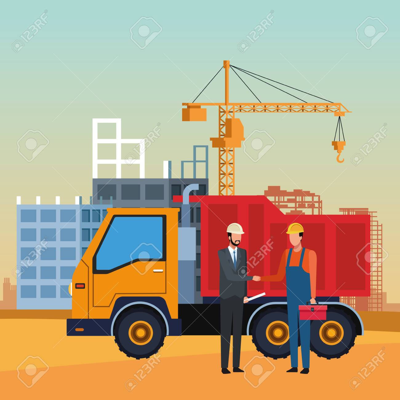 dump truck and engineer and builder over under construction scenery, colorful design, vector illustration - 136203493