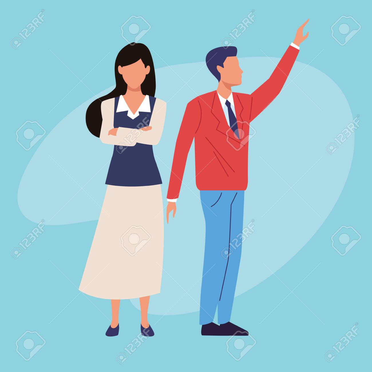 Executive businessman and businesswoman crossed arms on blue background vector illustration graphic design. - 136272713
