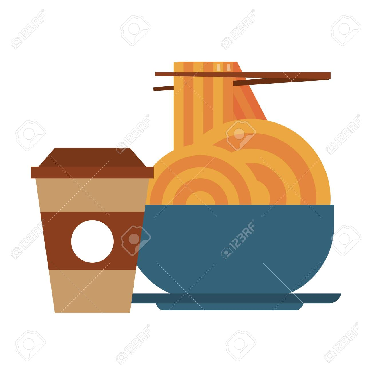 Restaurant Food And Cuisine With Chinese Food With Chopstick Spaghetti On A Bowl And Coffee Cup Icon Cartoons Vector Illustration Graphic Design Ilustraciones Vectoriales Clip Art Vectorizado Libre De Derechos Image 136476767