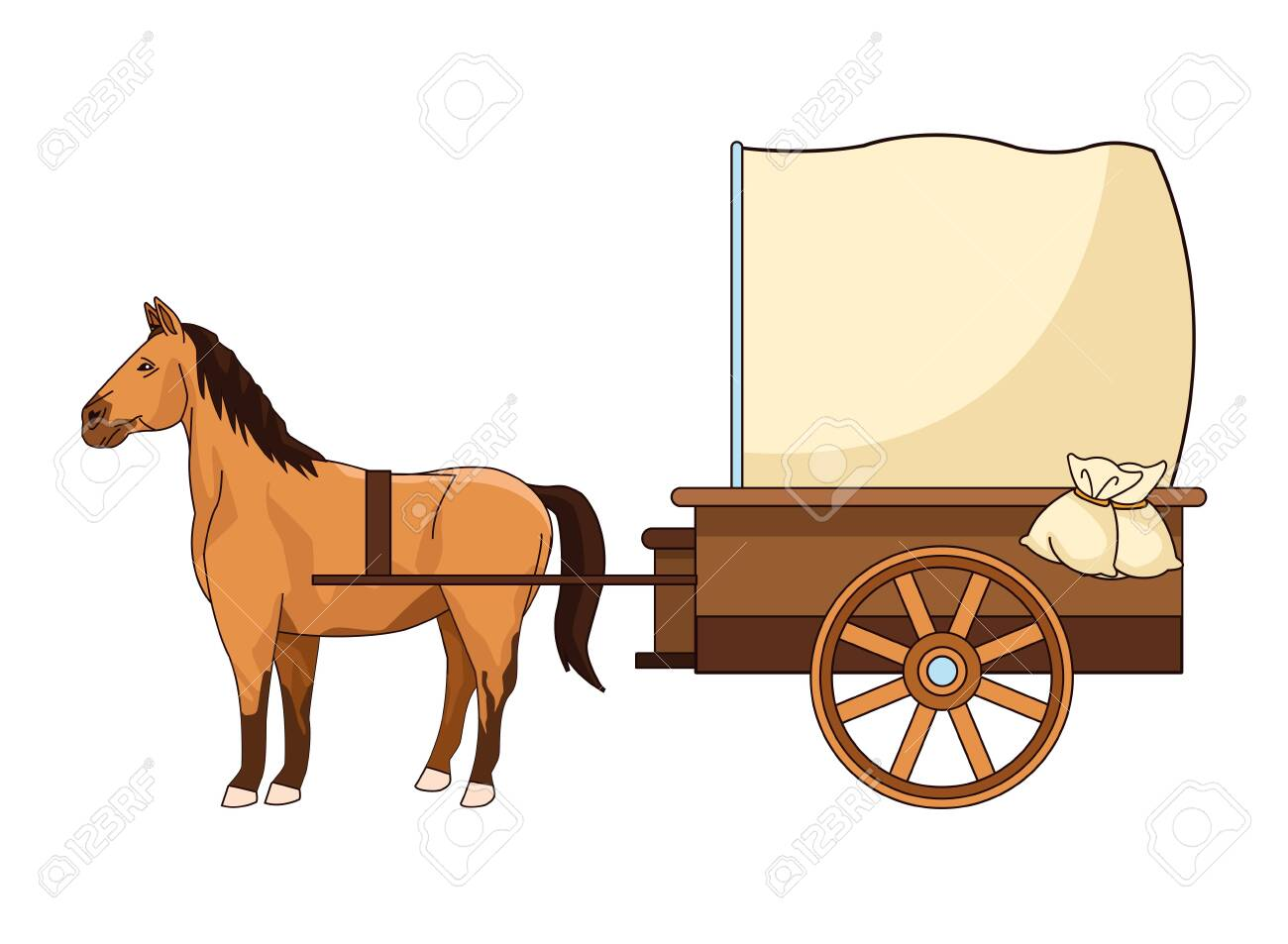 Antique Horse Carriage Animal Tractor Vector Illustration Graphic Royalty Free Cliparts Vectors And Stock Illustration Image 136512849