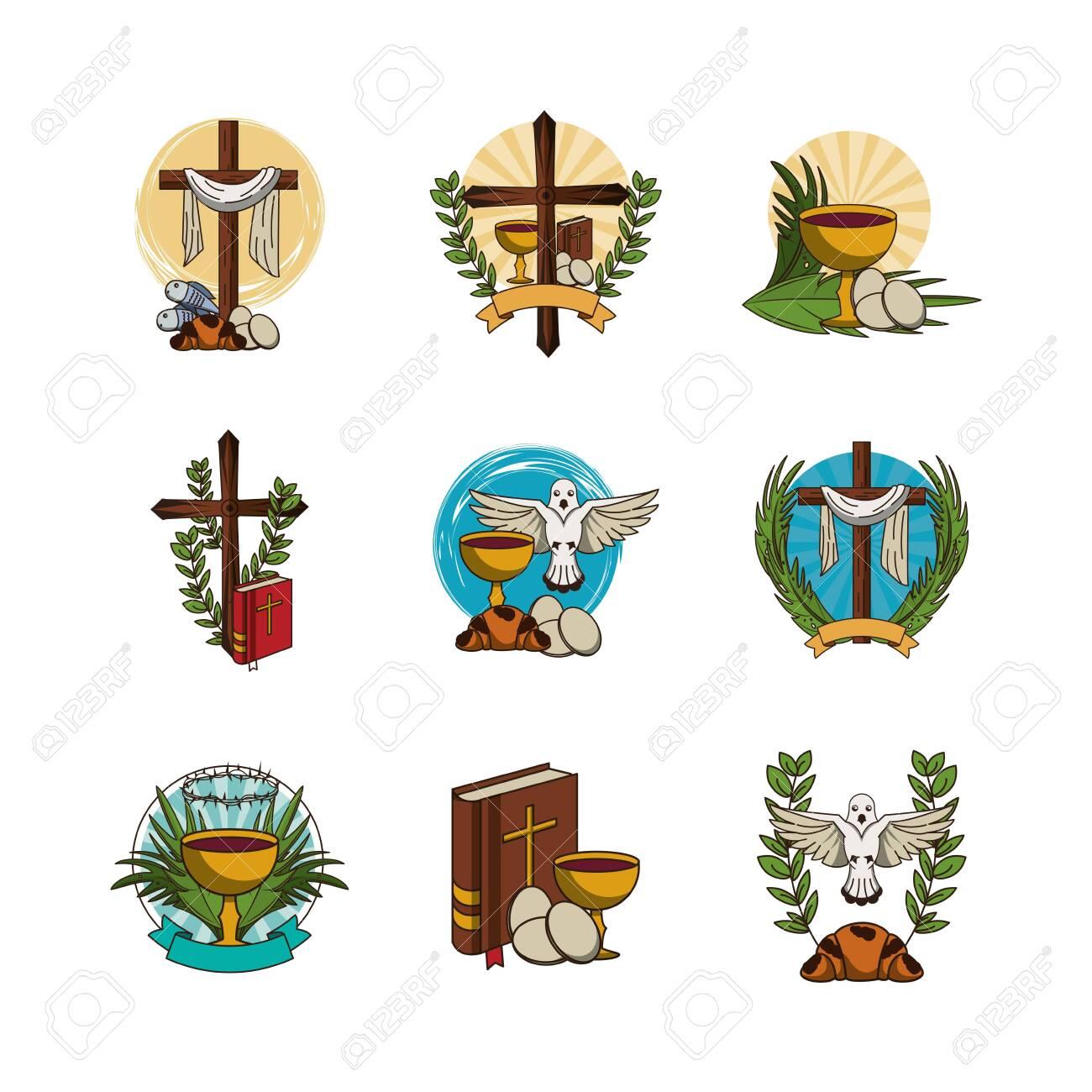 bundle of first communion set icons vector illustration design - 136883404