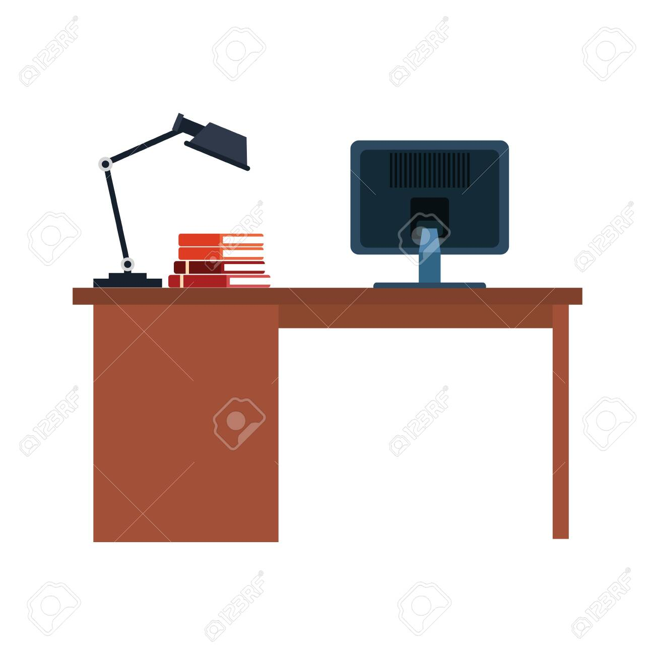 - Office Desk With Computer And Desk Lamp Over White Background