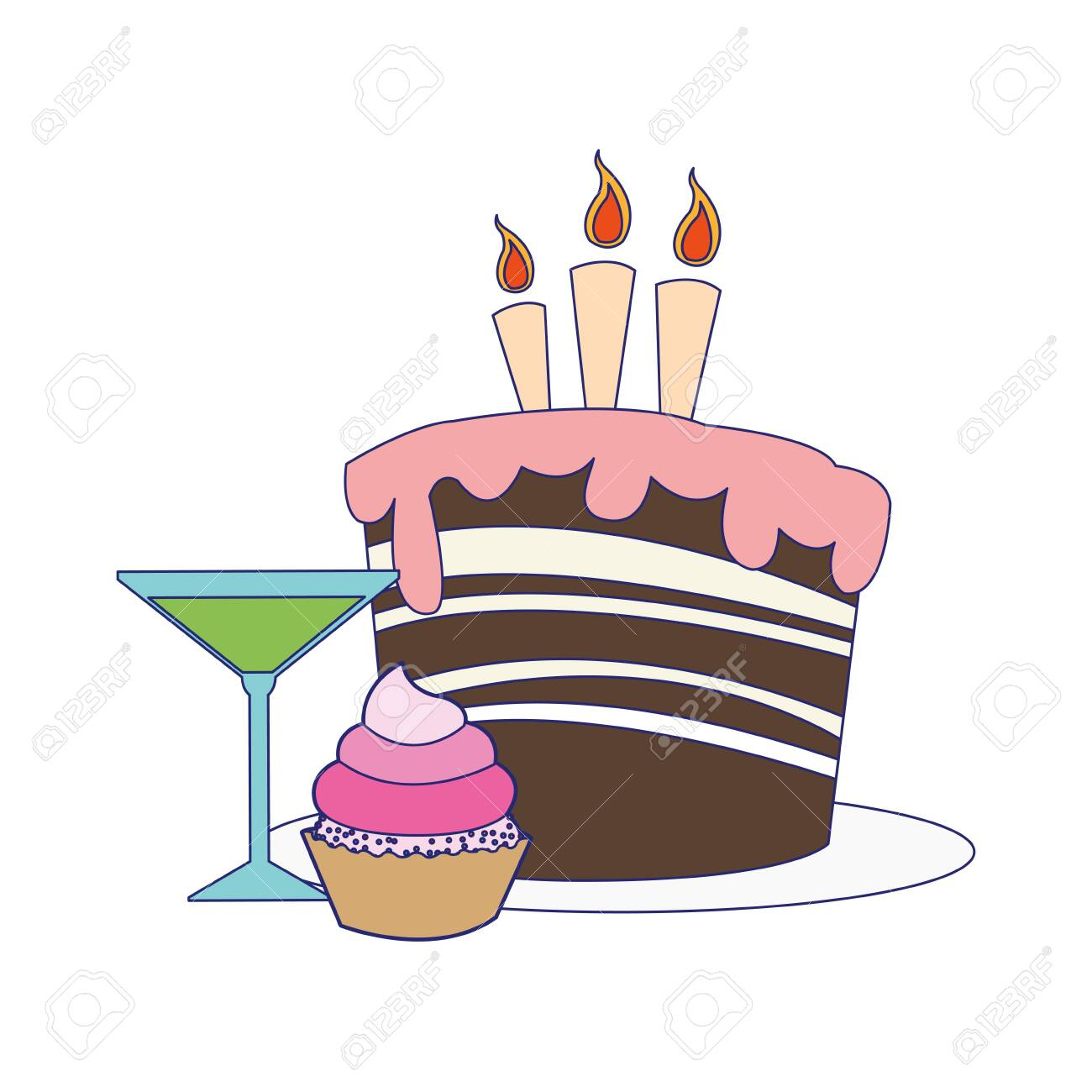Tremendous Cupcake And Cocktail With Birthday Cake With Candles Icon Over Birthday Cards Printable Inklcafe Filternl