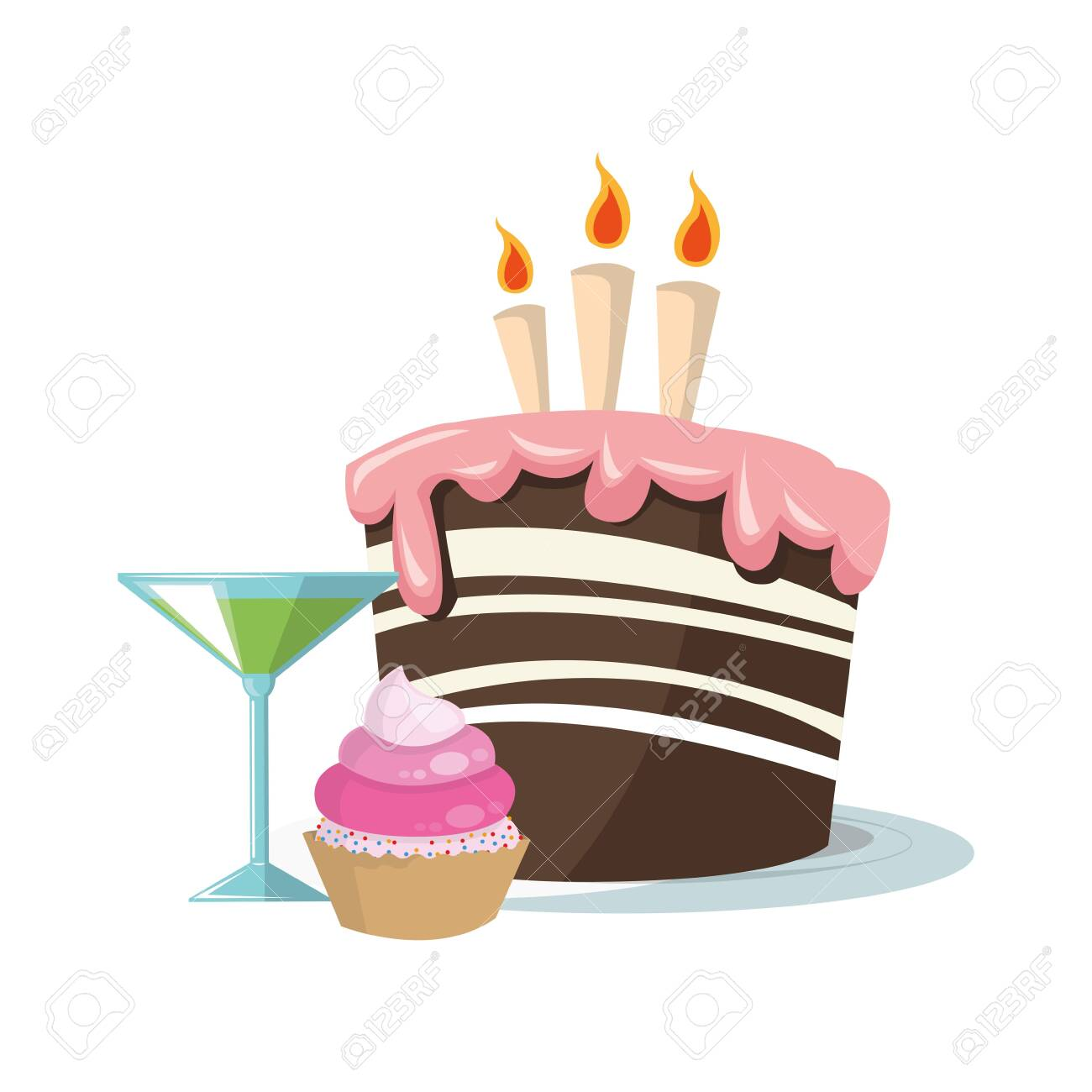 Super Cupcake And Cocktail With Birthday Cake With Candles Icon Over Funny Birthday Cards Online Alyptdamsfinfo