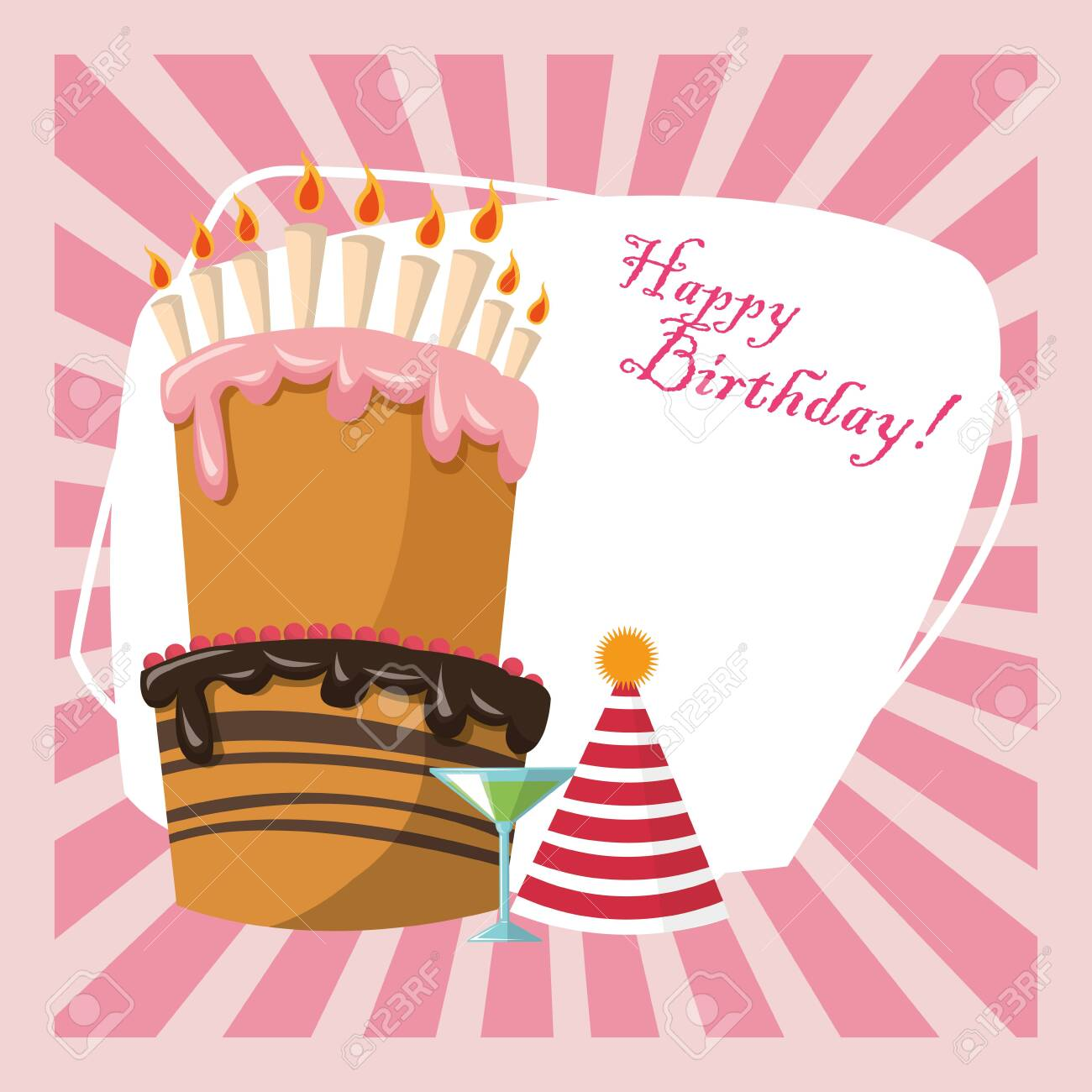 Happy Birthday Celebration Party Sweet Cake Hat And Cocktail Royalty Free Cliparts Vectors And Stock Illustration Image 139124977