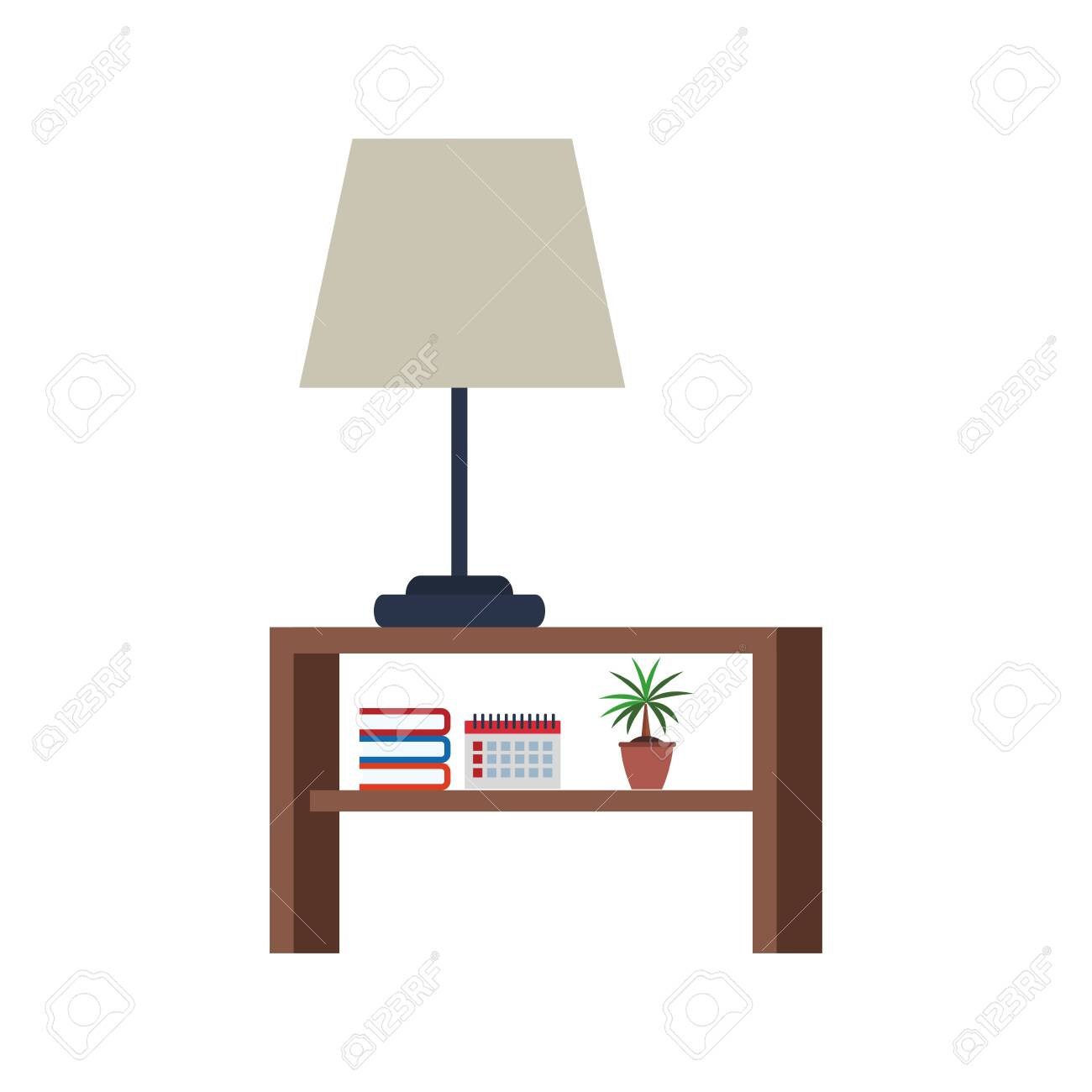 Nightstand With Lamp And Books Over White Background Vector Royalty Free Cliparts Vectors And Stock Illustration Image 139215946