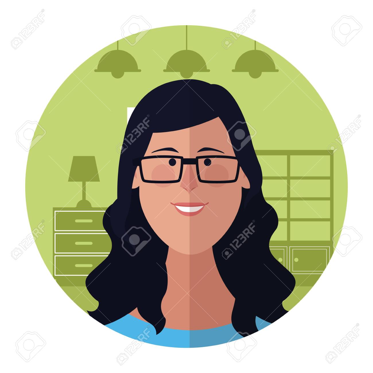 Woman With Glasses Face Cartoon Profile Inside Home Round Icon Royalty Free Cliparts Vectors And Stock Illustration Image 139361379