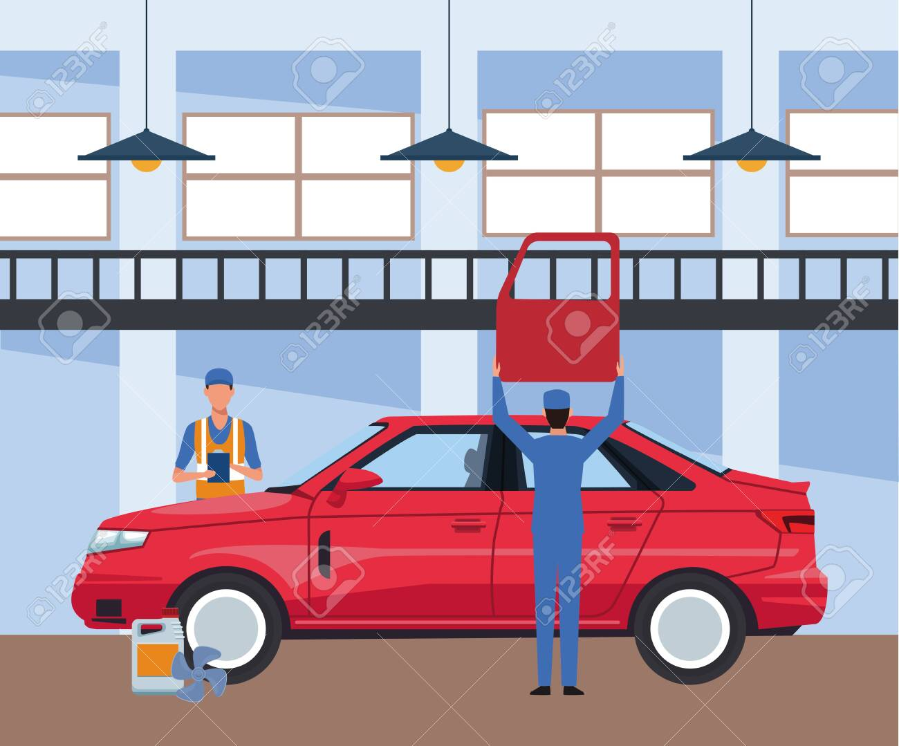 Car Repair Shop Scenery With Red Car And Mechanics Working On Royalty Free Cliparts Vectors And Stock Illustration Image 139890761