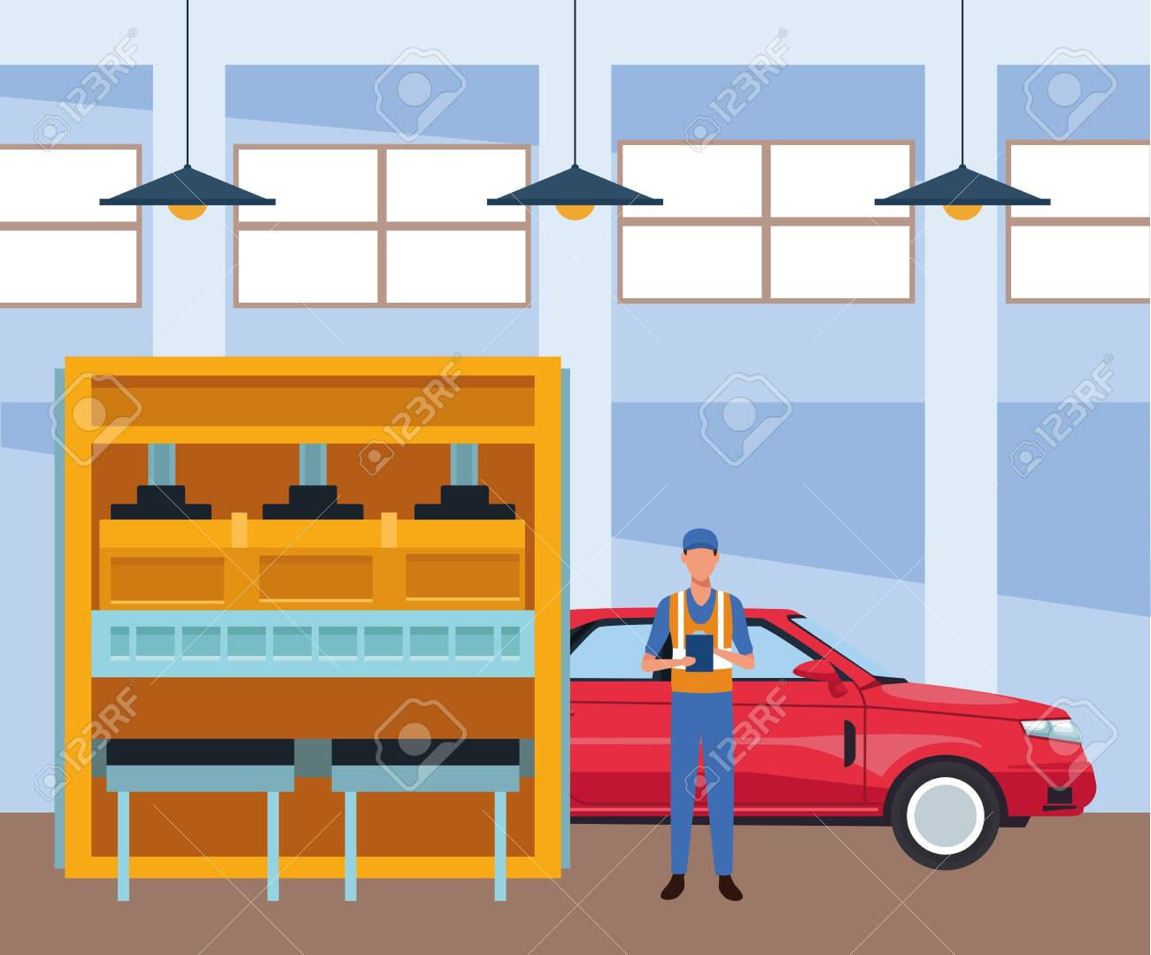 Car Repair Shop Scenery With Mechanic Machine And Red Car Colorful Royalty Free Cliparts Vectors And Stock Illustration Image 139891274