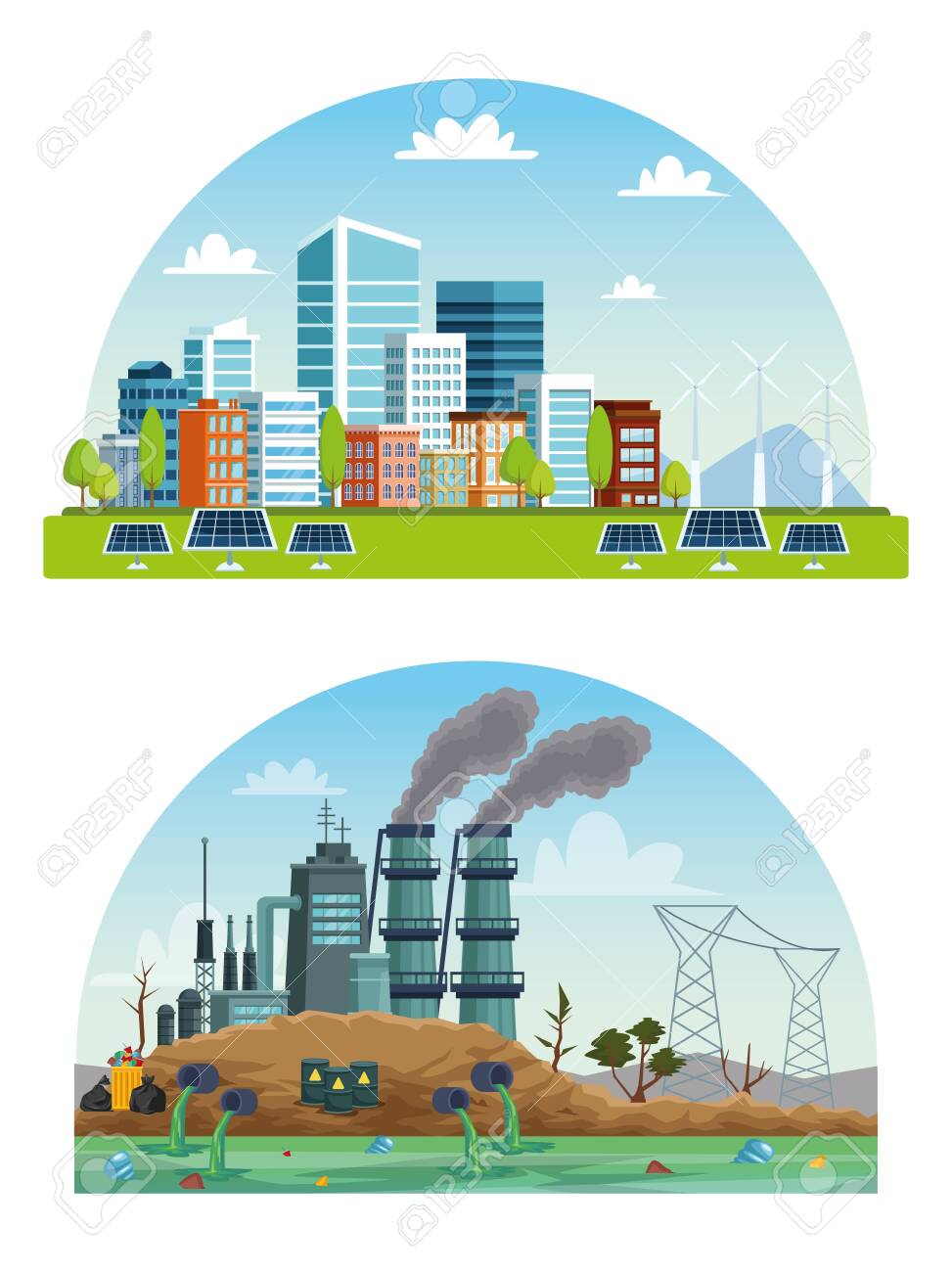 ecology city and industry pollution scenes vector illustration design - 140015797