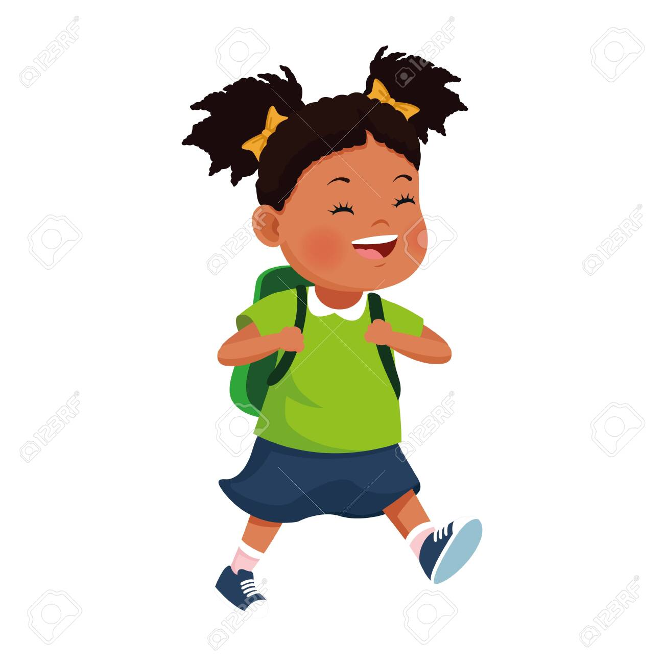 cartoon girl smiling with a backpack icon over white background, vector illustration - 142713432