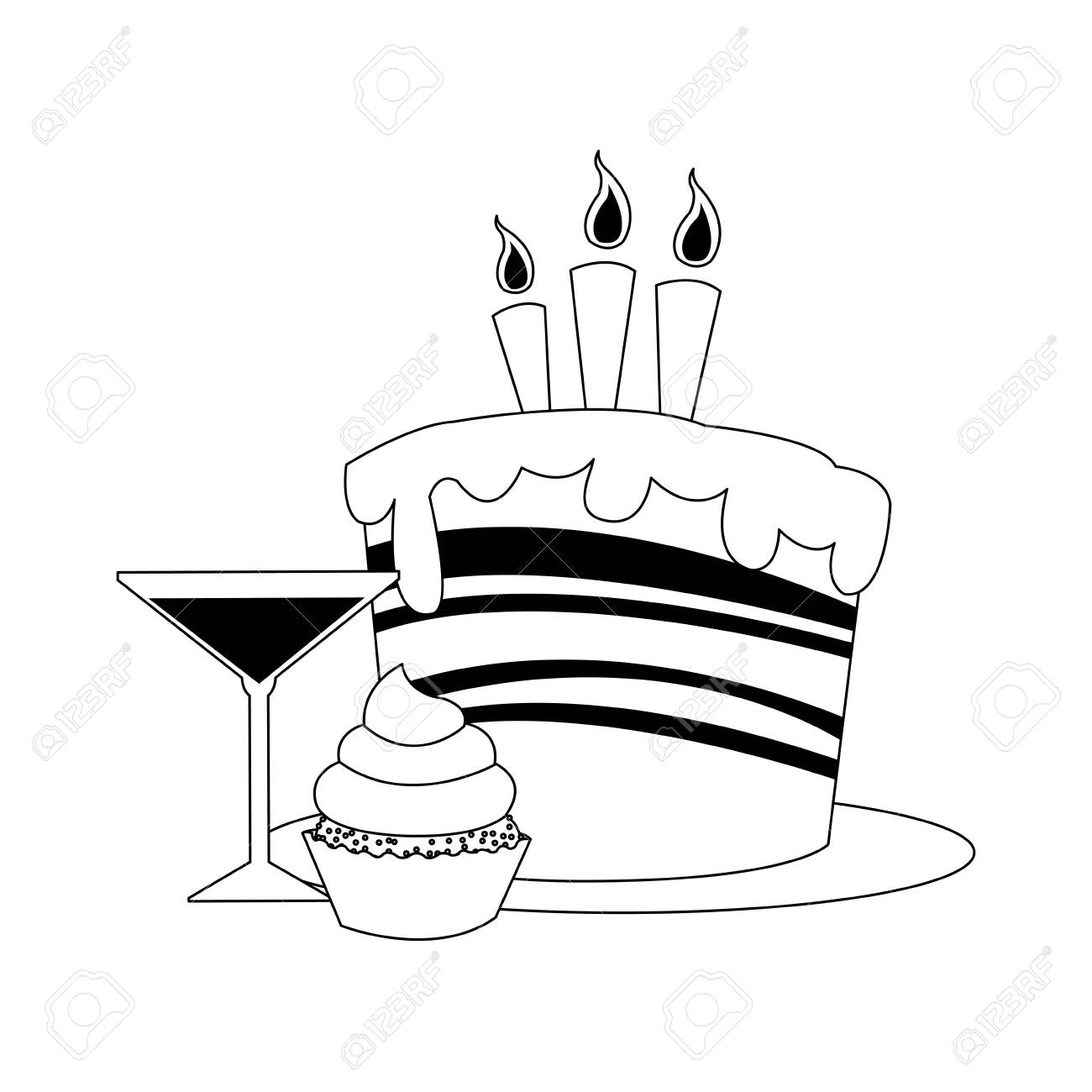 Awe Inspiring Cupcake And Cocktail With Birthday Cake With Candles Icon Over Birthday Cards Printable Inklcafe Filternl