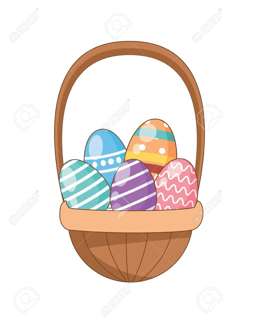 eggs painted easter in basket vector illustration design - 142080943