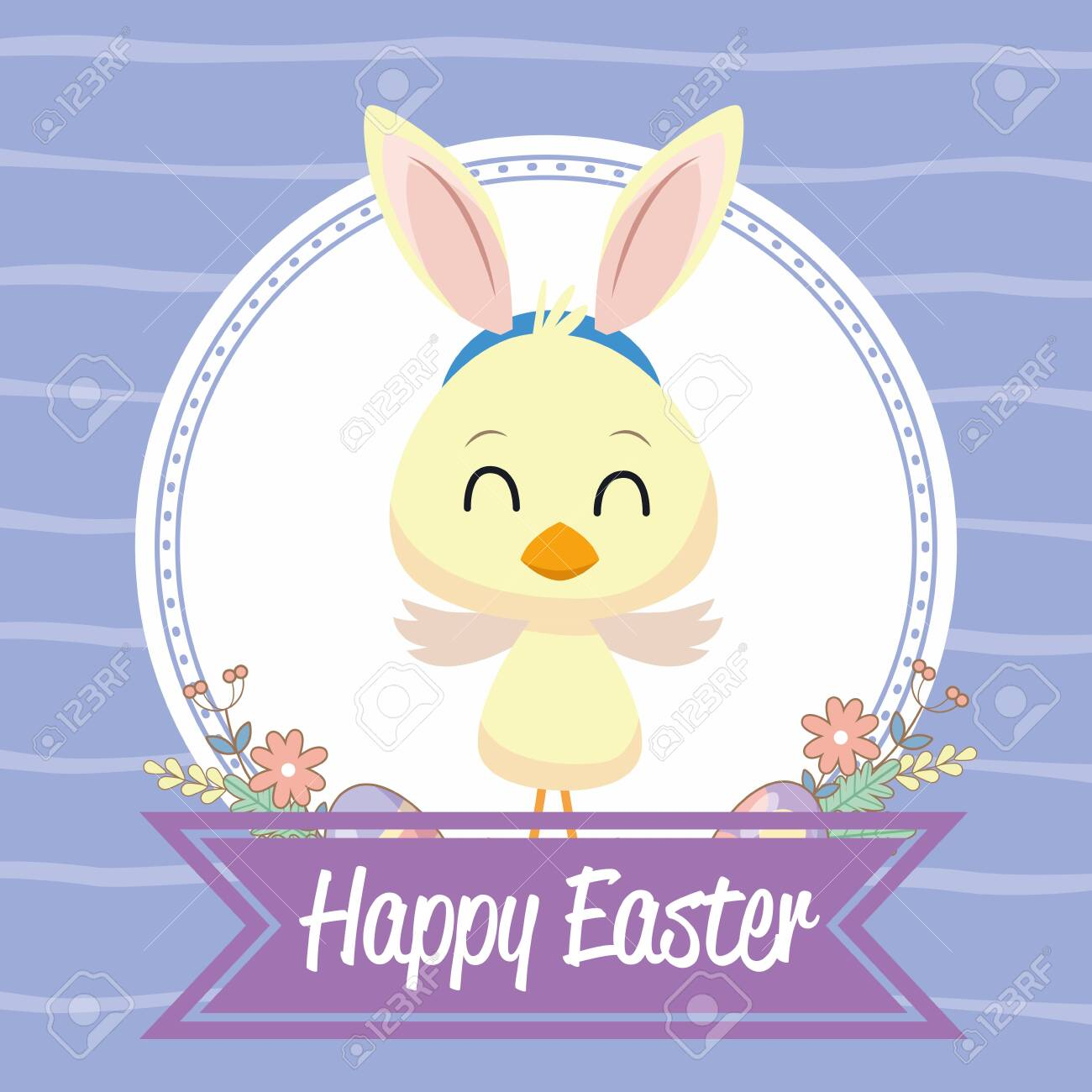 happy easter seasonal card with little chick using rabbit ears vector illustration design - 142085199