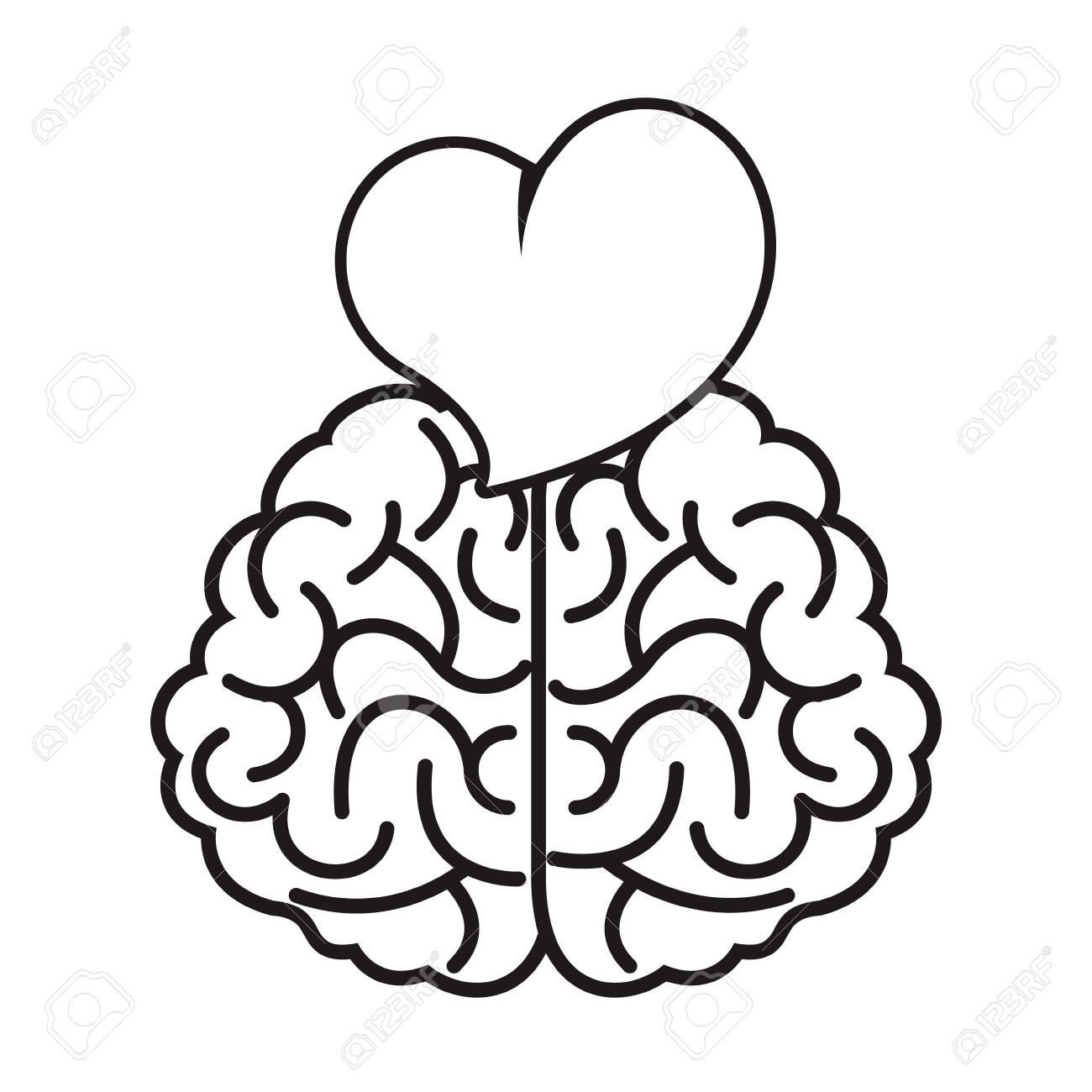 brain with heart love icon vector illustration design - 143031864