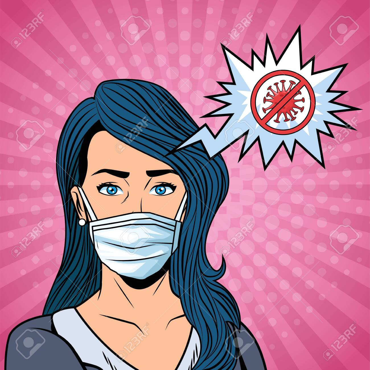 woman using face mask and stop covid19 message vector illustration design - 144066232
