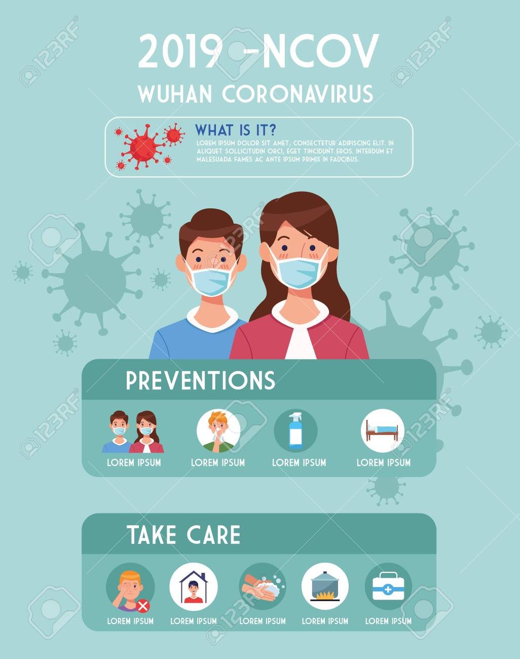 covid19 pandemic flyer with couple using face masks infographics vector illustration design - 145312058