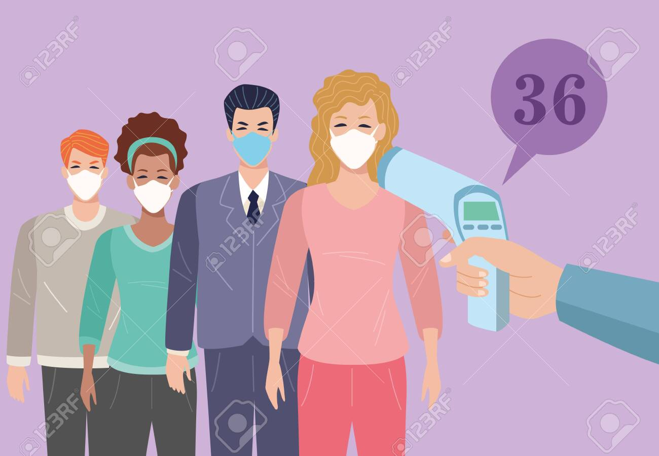 people using face masks in temperature check point for covid19 vector illustration design - 147540752