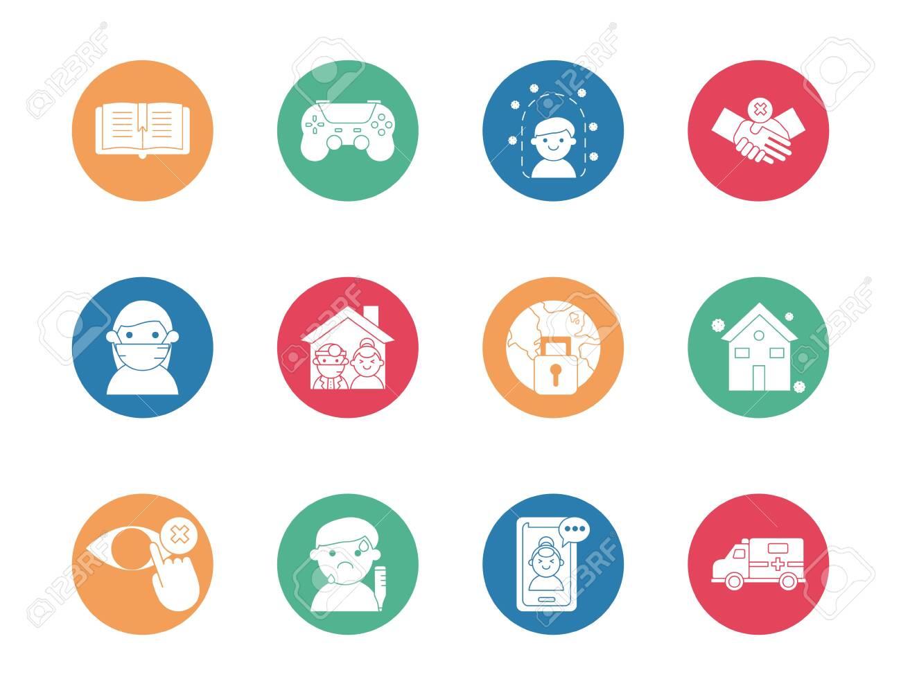bundle of quarantine set icons vector illustration design - 147838969
