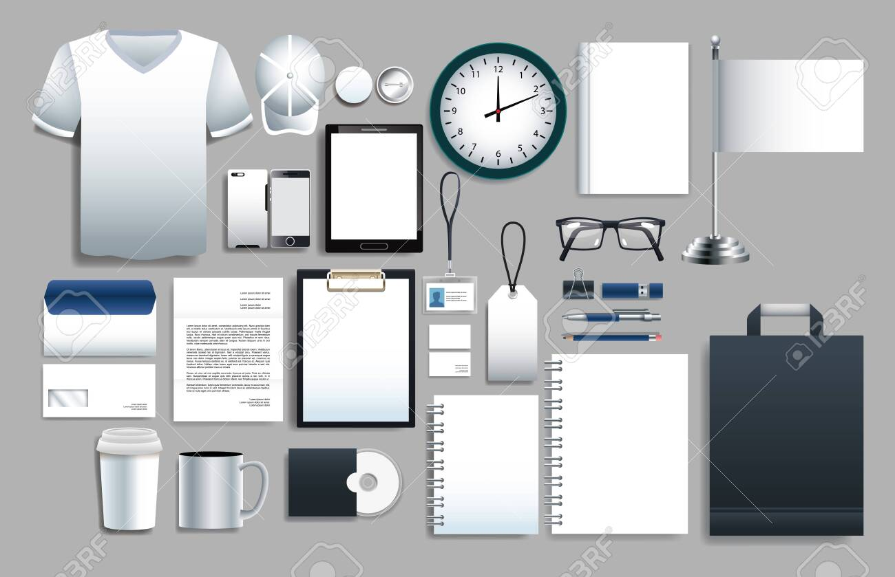 set of white elements with stationery templates vector illustration design - 149526070