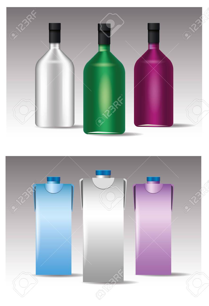 set of glass and colors bottles products vector illustration design - 150062369