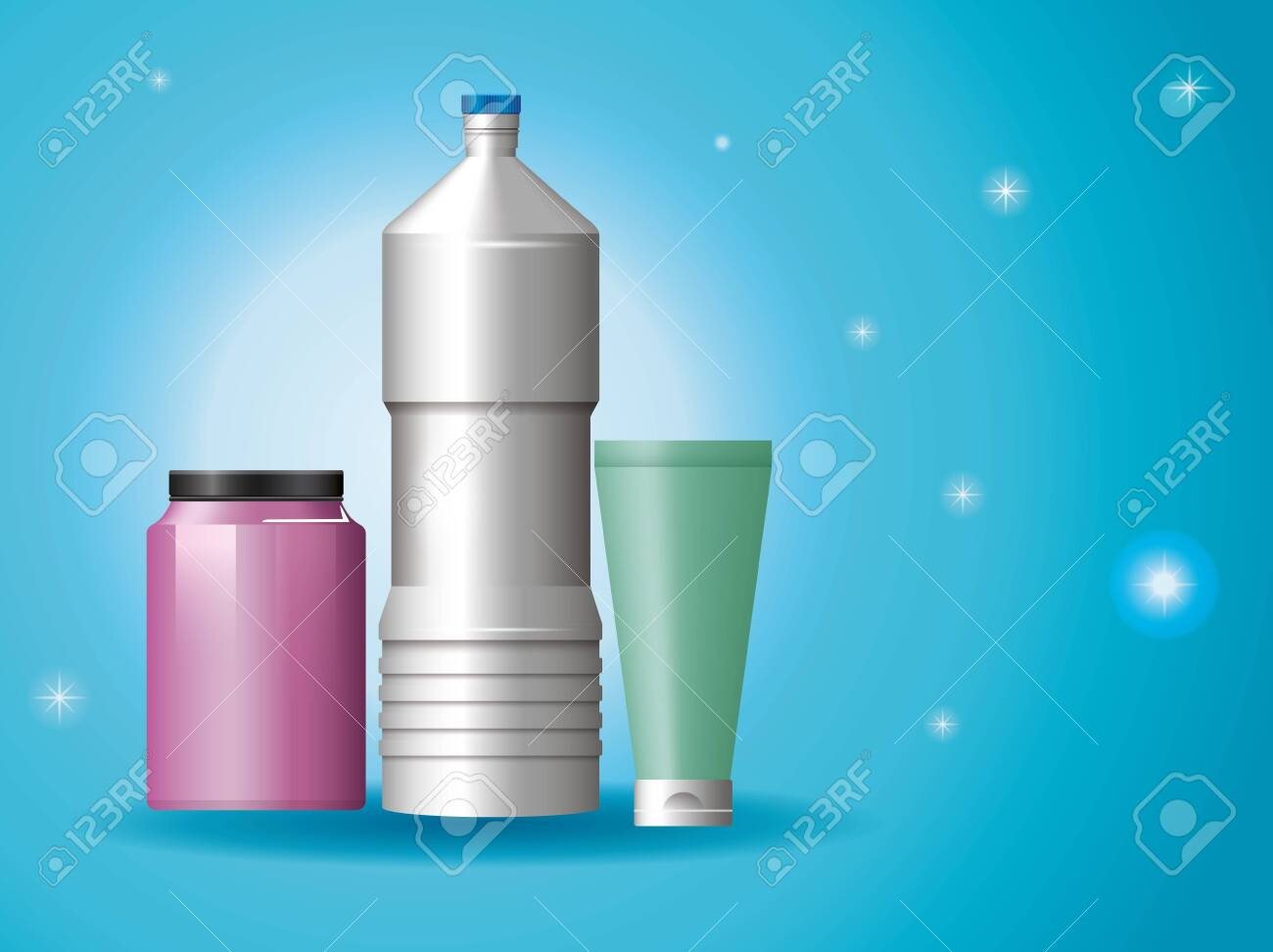 set of materials and styles bottles products vector illustration design - 150062672