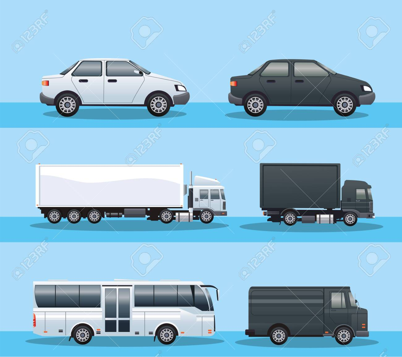 bundle of vehicles transport icons vector illustration design - 152877922