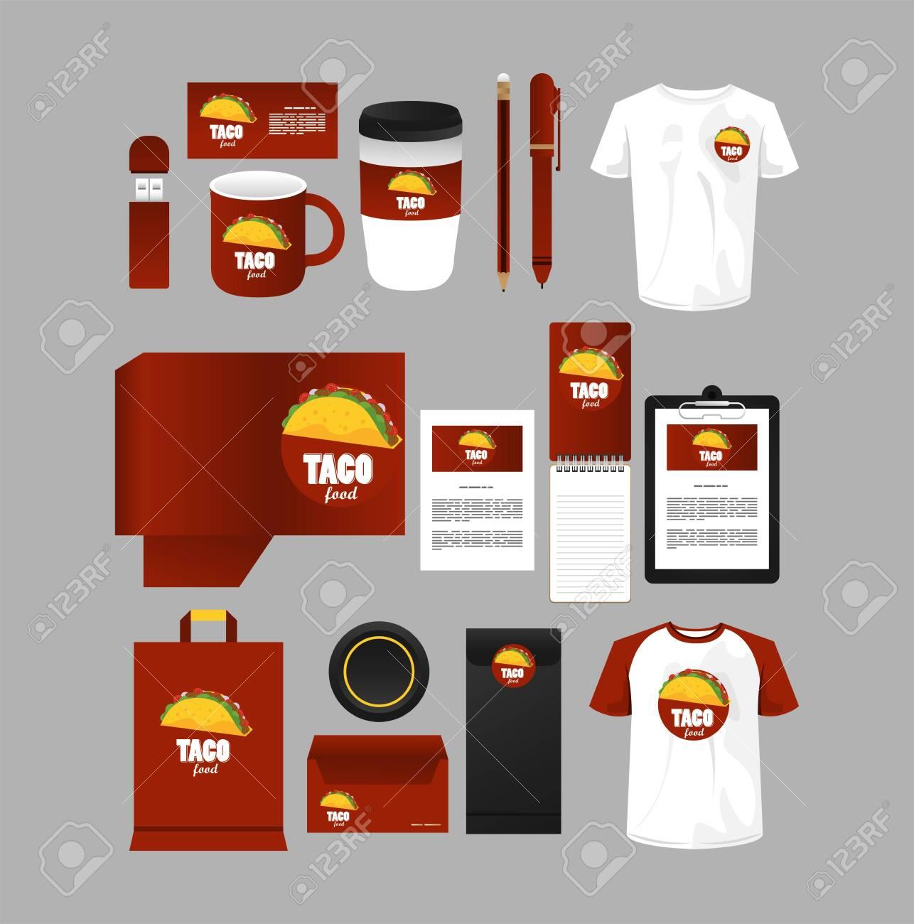 bundle of mexican food mockup elements branding vector illustration design - 157960713