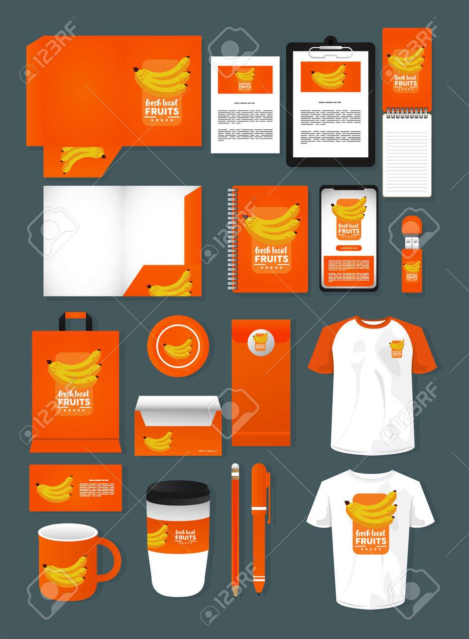 bundle of bananas fruits mockup elements branding vector illustration design - 157970183