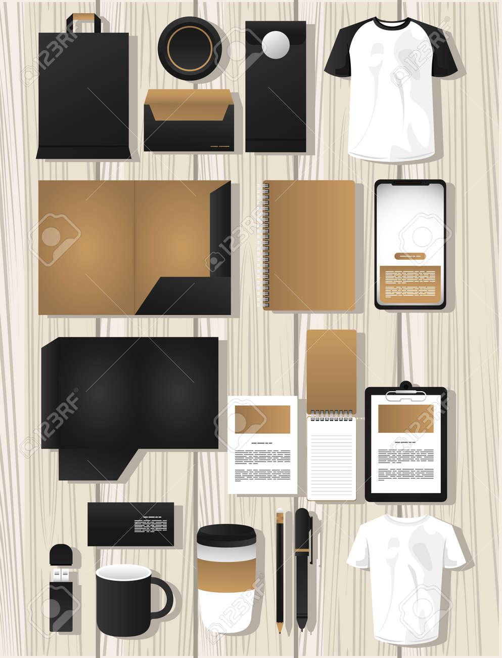 bundle of mockup elements branding vector illustration design - 157973847