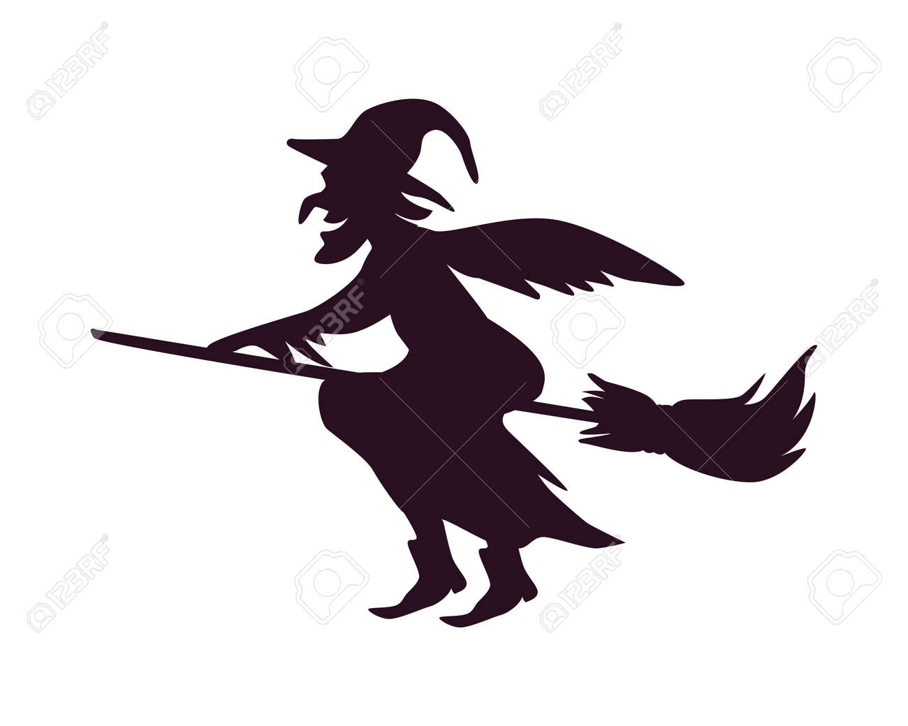 witch in broom line style icon vector illustration design - 158082427